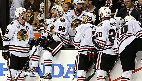 2013 Stanley Cup Final: Chicago Blackhawks react after losing Game 3 to Boston Bruins