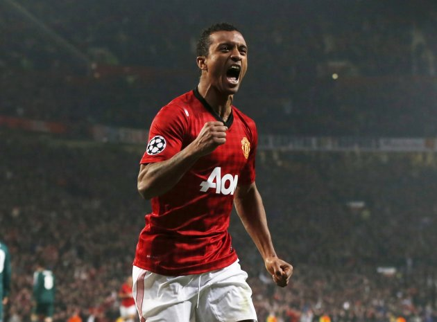 Manchester United's Luis Nani reacts after an own goal by Real Madrid's captain Sergio Ramos during their Champions League soccer match at Old Trafford stadium in Manchester