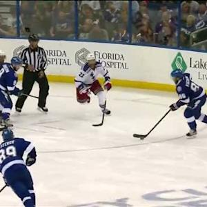 Kucherov beats Lundqvist's glove off faceoff