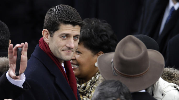Rep. Paul Ryan, R-Wis., arrives at the ceremonial swearing-in for President Barack Obama at the U.S. Capitol during the 57th Presidential Inauguration in Washington, Monday, Jan. 21, 2013. (AP Photo/Carolyn Kaster)
