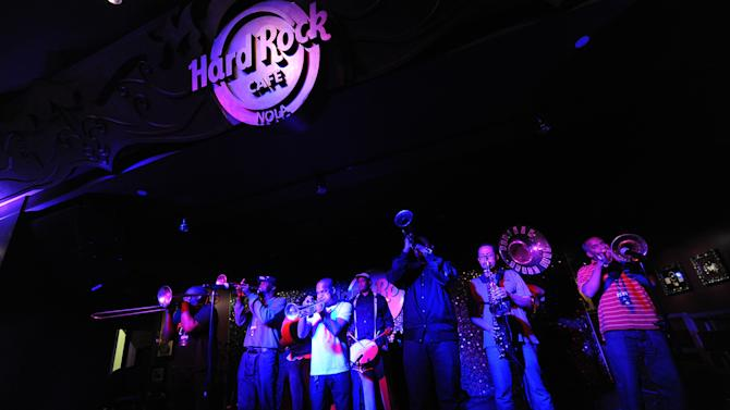 Rebirth Brass Band performs at the grand opening of Hard Rock Cafe New Orleans, Wednesday, Feb. 20, 2013. (Photo by Cheryl Gerber/Invision for Hard Rock International/AP Images)