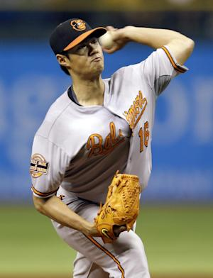 Baltimore Orioles starting pitcher Wei-Yin Chen, of Taiwan, delivers to the Tampa Bay Rays during the first inning of a baseball game, Monday, Oct. 1, 2012, in St. Petersburg, Fla. (AP Photo/Chris O'Meara)