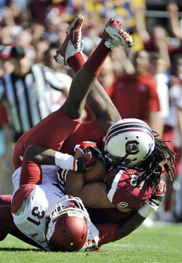 No. 12 South Carolina beats Arkansas, 38-20