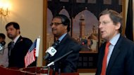 This file photo shows US special envoy Marc Grossman (R) speaking during a joint press conference with Afghan deputy FM Jawed Ludin (L) and Pakistani foreign secretary Jalil Abbas Jilani (C), in Islamabad, on April 27. A day earlier, Islamabad reiterated its opposition to US drone attacks in its territory