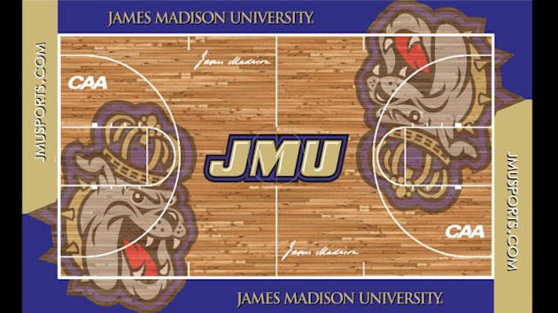 The new JMU court was voted on by Facebook fans of the program. (JMU Athletics)