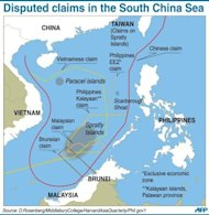 &lt;p&gt;Graphic showing disputed sea border claims in the South China Sea. Tensions rose recently in the sea, where China and a host of neighbouring countries have overlapping territorial claims, with both Vietnam and the Philippines accusing Beijing of aggressive behaviour.&lt;/p&gt;