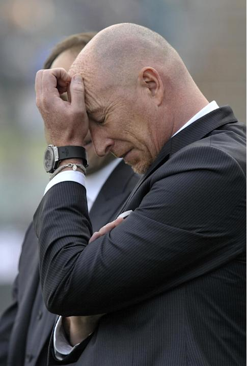 Catania coach Rolando Maran reacts at the end of a serie A soccer match between Sassuolo and Catania at Reggio Emilia's Mapei stadium, Italy, Sunday, March 16, 2014