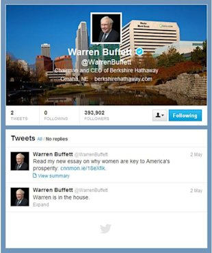 Helping Hand for Warren Buffet on Twitter image Buffet Twitter