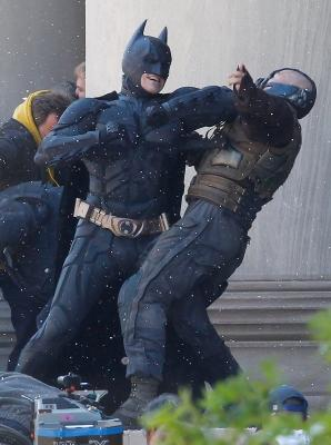 "Christian Bale, playing Batman, acts in a scene with Tom Hardy, playing Bane, during the filming of the new ""The Dark Knight Rises"" at the Mellon Institute building in the Oakland neighborhood of Pittsburgh on July 31, 2011 -- Getty Premium"