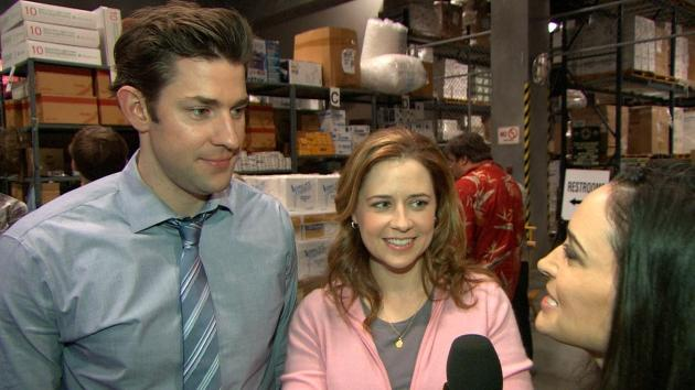 John Krasinski and Jenna Fischer on the set of 'The Office' -- Access Hollywood