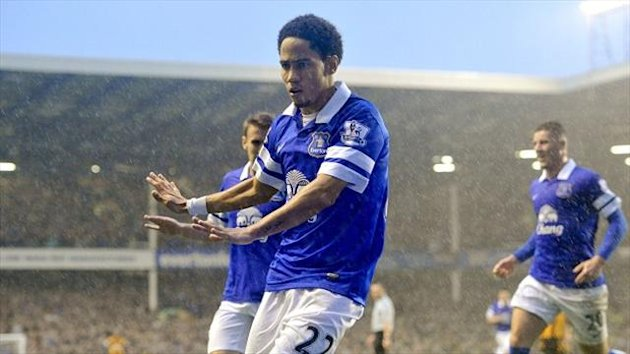 Steven Pienaar celebrates a goalscoring return to action on Saturday