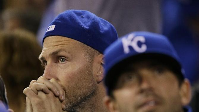 Kansas City Royals' fans watch the eighth inning of Game 1 of baseball's World Series between the Kansas City Royals and the San Francisco Giants Tuesday, Oct. 21, 2014, in Kansas City, Mo. (AP Photo/Charlie Neibergall)