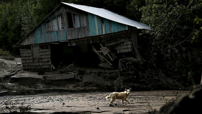 A damaged house by lahar from Calbuco Volcano is seen at Correntoso near Chamiza