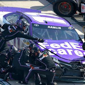 Hamlin goes for wild ride, collects Kurt Busch
