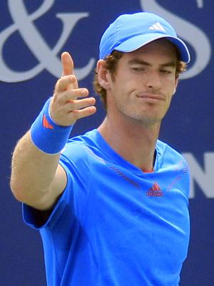 Andy Murray, from England, complains about a shot during a match against Jeremy Chardy, from France, at the Western & Southern Open tennis tournament, Thursday, Aug. 16, 2012, in Mason, Ohio. Chardy won 6-4, 6-4. (AP Photo/Al Behrman)