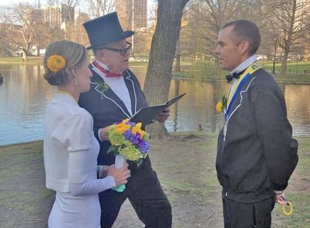 Robert Watling and Kelli Johnston married at a running-themed ceremony just hours after finishing the Boston Marathon. (Courtesy Robert Watling)
