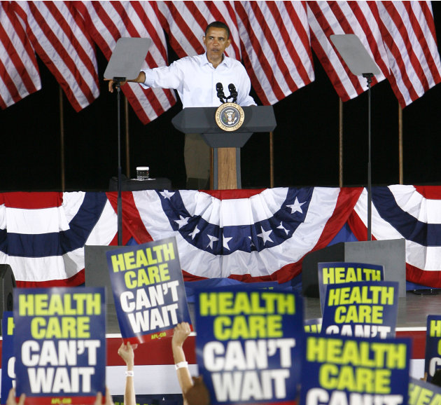 FILE - In this Sept. 7, 2009, file photo President Barack Obama speaks at the AFL-CIO Labor Day picnic at Coney Island in Cincinnati. Some labor unions that initially backed Obama's health care overha