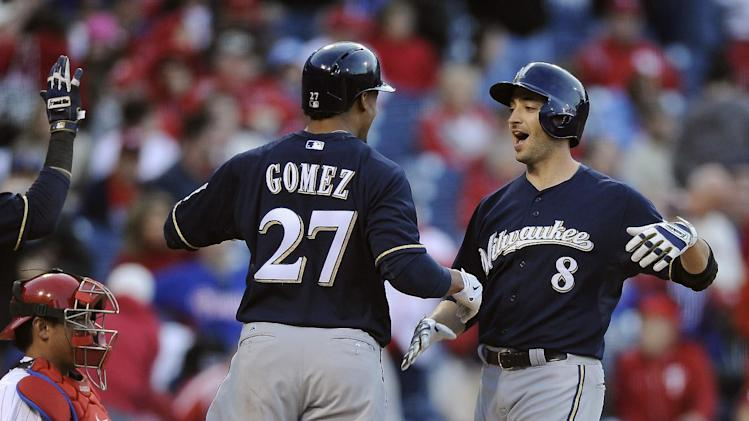 Braun hits 3 homers, Brewers beat Phillies 10-4
