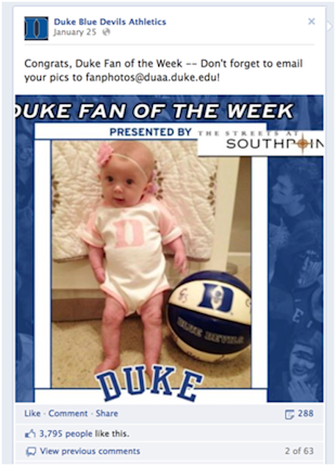 7 Ways to Use Facebook to Display Brand Personality image Duke baby