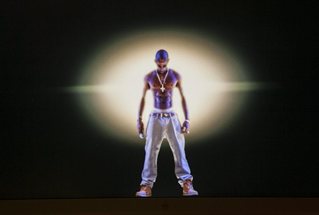 In this photo taken Tuesday, June 12, 2012, a video image of the Tupac Shakur hologram is displayed on a computer monitor at the Subtractive Studio in Santa Monica, Calif. When Tupac Shakur rose from the stage in the California desert earlier this year, it was not only a jaw-dropping resurrection, but also the beginning of a new form of live entertainment. Stars wield extensive control over how their names, voices and images are used after they die through likeness, trademark and copyright protections, and now holograms offer them yet another consideration.(AP Photo/Damian Dovarganes)