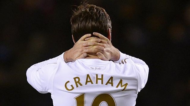 Swansea City's Danny Graham reacts during their FA Cup third round replay soccer match against Arsenal at the Emirates Stadium in London January 16, 2013 (Reuters)