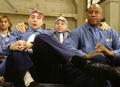 "Mike Myers , Verne Troyer and Tom ""Tiny"" Lister Jr. in New Line's Austin Powers in Goldmember"