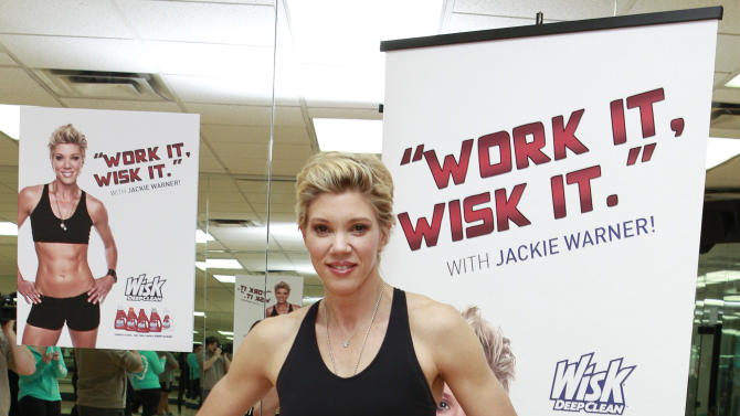 IMAGE DISTRIBUTED FOR WISK DEEP CLEAN - Celebrity trainer Jackie Warner poses for a photo at the Wisk Deep Clean's gym class at the New York Health and Racquet club on Wednesday Jan. 09, 2013 in New York City. (Mark Von Holden/AP Images for Wisk Deep Clean)