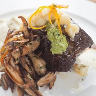 Sangria-braised short ribs with cauliflower puree