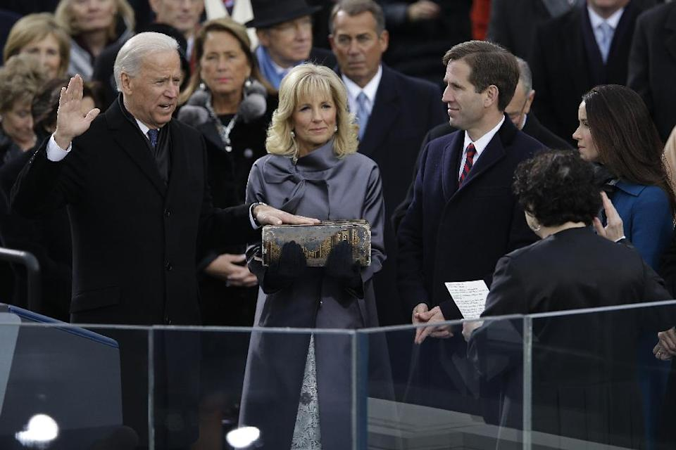 Vice President Joe Biden receives the oath of office from Associate Justice Sonia Sotomayor at the ceremonial swearing-in at the U.S. Capitol during the 57th Presidential Inauguration in Washington, Monday, Jan. 21, 2013. (AP Photo/Carolyn Kaster)