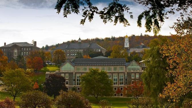 This Oct. 14, 2010 photo provided by Colgate University shows the refurbished Case Library and Geyer Center for Information Technology, center, on the campus of Colgate University in Hamilton, N.Y. A $480 million fundraising campaign helped pay for this and other projects on Colgate's campus, but possible changes in the tax law could affect donations to higher education. (AP Photo/Colgate University, Andrew M. Daddio)