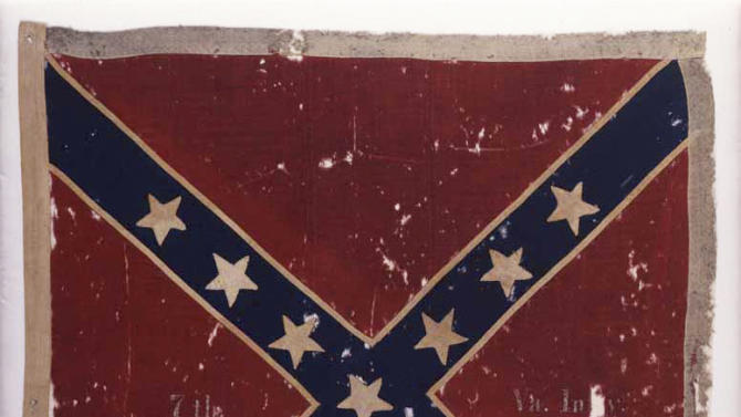 """This image provided by the Museum of the Confederacy shows the Confederate flag of the 7th Virginia Infantry Army of Northern Virginia Obverse captured at the Battle of Gettysburg, Pa.,, in July 1863 by the 82nd New York Infantry. The flag will be part of an exhibit at the The Museum of the Confederacy """"Gettysburg: They walked through blood"""" on May 11 to commemorate the 150th anniversary of the Battle of Gettysburg. (AP Photo/The Museum of the Confederacy, Katherine Wetzel)"""