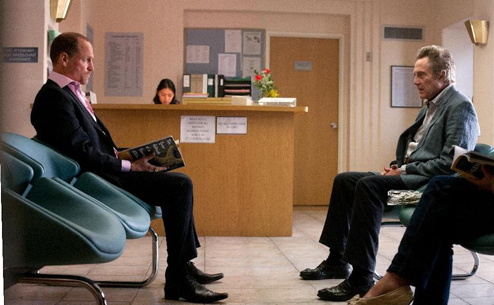 "This film image released by CBS Films shows Woody Harrelson, left, and Christopher Walken in a scene from ""Seven Psychopaths."" (AP Photo/CBS Films, Chuck Zlotnick)"