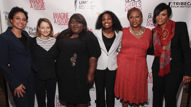 """IMAGE DISTRIBUTED FOR PROCTER & GAMBLE - From left, Director Shola Lynch, actress and director Jodie Foster, actress Gabourey Sidibe, documentary lead Janet Goldsboro, director and producer Lisa Cortes, and executive producer Beverly Bond are seen at the premiere of the """"Imagine a Future"""" documentary presented by P&G's My Black is Beautiful on Sunday, April 21, 2013, in New York City, NY. (Brian Ach /AP Images for Procter & Gamble)"""