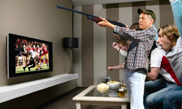 Jon Stewart Skeet Shoots at the Super Bowl (Video)