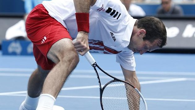 Radek Stepanek of the Czech Republic slips on the court during his men's singles quarter final loss to Juan Martin Del Potro (Reuters)