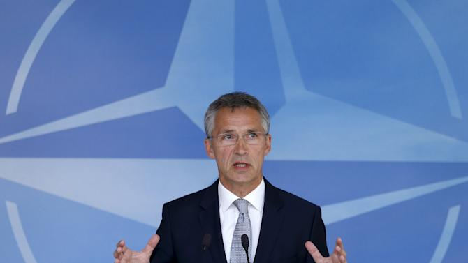 NATO Secretary General Stoltenberg addresses a news conference after the North Atlantic Council meeting in Brussels