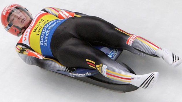 Germany&#39;s Hufner speeds down the track during the Luge World Cup competition in Altenberg