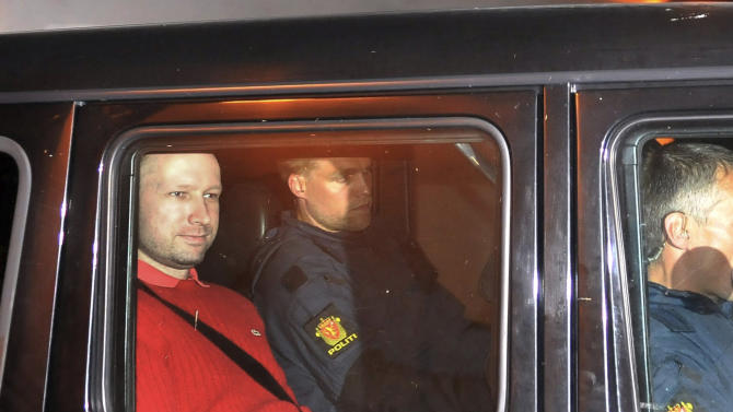 FILE - In this July 25, 2011 file photo, Norway's twin terror attacks suspect Anders Behring Breivik, left, sits in an armored police vehicle after leaving the courthouse following a hearing in Oslo, Norway where he pleaded not guilty to one of the deadliest modern mass killings in peacetime. It's unlikely that Breivik will be declared legally insane because he appears to have been in control of his actions, the head of the panel that will review his psychiatric evaluation told The Associated Press. (AP Photo/Aftenposten/Jon-Are Berg-Jacobsen) NORWAY OUT