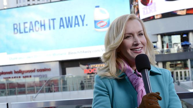 IMAGE DISTRIBUTED FOR CLOROX - Award-winning actress Angela Kinsey, shares her messy moments as part of Clorox's Bleach It Away program on the Las Vegas Strip on Tuesday, Feb. 12, 2013 in Las Vegas. (Jeff Bottari / AP Images for Clorox)
