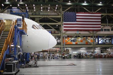 Boeing 787 Dreamliner under construction is pictured at the Boeing facility in Everett
