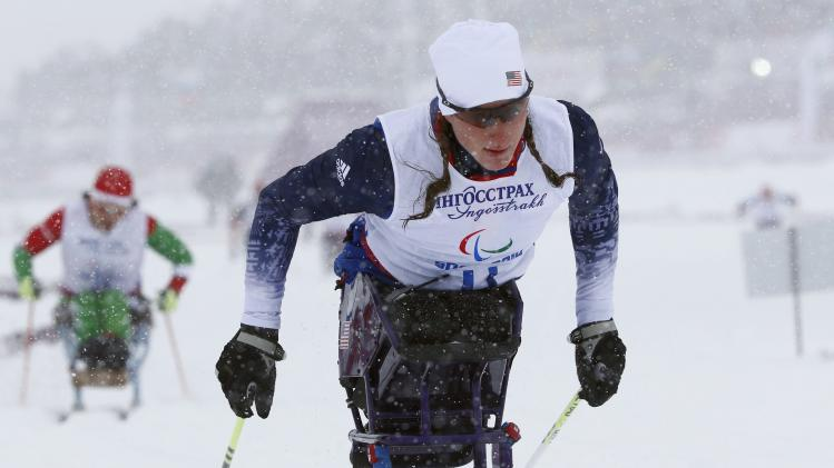 McFadden of the U.S. skis during the women's 1 km sprint cross-country sitting event at the 2014 Sochi Paralympic Winter Games in Rosa Khutor