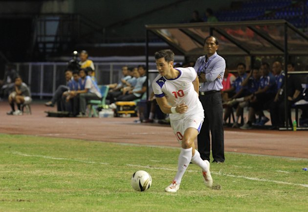 Phil Younghusband scored four goals against Cambodia. (NPPA Images)