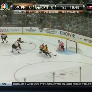 Ray Emery Save on Sidney Crosby (00:14/1st)
