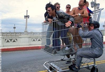 The jackass gang having shopping cart fun in Paramount's jackass: the movie