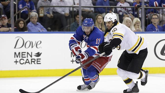 Boston Bruins' Nathan Horton, right, and New York Rangers' John Moore chase the puck during the third period in Game 4 of the Eastern Conference semifinals in the NHL hockey Stanley Cup playoffs in New York, Thursday, May 23, 2013, in New York. (AP Photo/Seth Wenig)