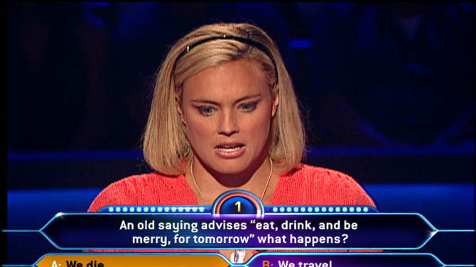 """FILE - In this 2008 photo provided by Disney-ABC Domestic Television, Lyndsay Baldwin from Cos Cob, CT feels the pressure as the clock winds down to just one second on her """"Millionaire"""" question in New York. A federal appeals court on Monday Dec. 3, 2012 upheld a $319 million verdict awarded to a British company that claimed Walt Disney Co. engaged in creative accounting to hide profits from the popular game show, """"Who Wants to Be a Millionaire."""" (AP Photo/Disney-ABC Domestic Television)"""