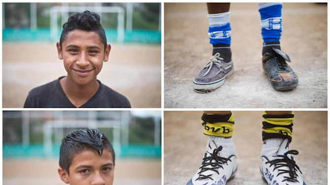 CORRECTS COACH'S LAST NAME TO LOPEZ - In this Sunday, Dec. 1, 2014, photo combo, 14-year-old Juan Carlos Mendez, top left, poses for a photo while he shows his soccer shoes, top right, and 15-year-old Daniel Silva, bottom left, poses for a photo as he shows his soccer shoes, bottom right, during a practice session in a dusty soccer field in the Progreso neighborhood of Tegucigalpa, Honduras. It's been six months since any of the 50 children who train with coach Luis Lopez has been murdered, in a country where nearly 1,000 children were killed this year. None has left the team to migrate to the United States, where border authorities have arrested more than 8,000 Honduran children this year as they tried to reunite with parents working there. (AP Photo/Esteban Felix)
