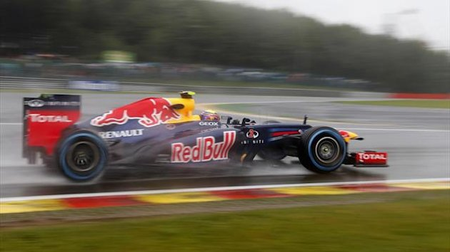 Red Bull Formula One driver Mark Webber of Australia drives during the first practice session of the Belgian F1 Grand Prix in Spa Francorchamps (Reuters)