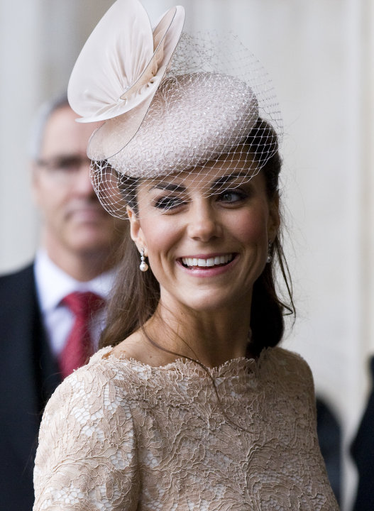Britain's  Kate Duchess of Cambridge arrives for a service of thanksgiving to celebrate Queen Elizabeth's  60-year reign during Diamond Jubilee celebrations in St Paul's Cathedral, London, Tuesday, Ju