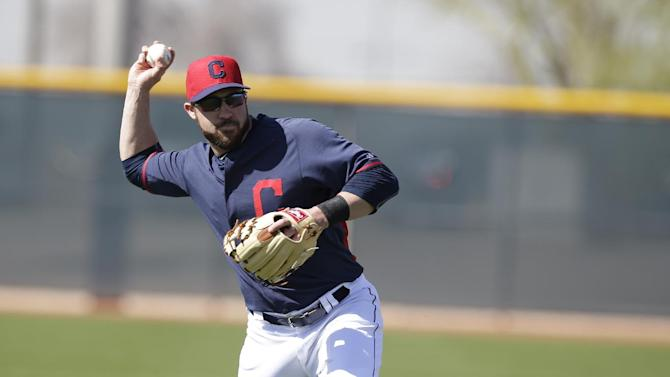 Cleveland Indians' Jason Kipnis (22) in action during spring training baseball practice Thursday, Feb. 26, 2015, in Goodyear, Ariz. (AP Photo/Darron Cummings)